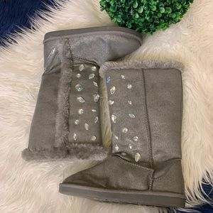 {Justice} Gray Jeweled Faux Fur & Lining Boots | 3